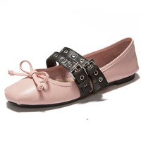 2016 New Fashion Spring summer shoes women Flats Ballet loafers with Belt bow Luxury brand Genuine leather breathable ladies