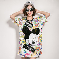 New  Women Summer Fashion Tops Sequined Cartoon Animal Print T Shirt Plus Size Woman O-Neck Short Sleeve t-shirt 72481 GS