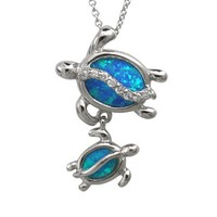 """Mom and Baby Turtle Sterling Silver Synthetic Blue Opal Necklace Pendant with 18"""" Box Chain"""