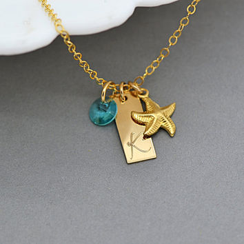 Name Tag Necklace / Starfish Necklace / Personalized Tag Necklace / Gold Tag / Beach Jewelry