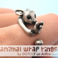Bunny Rabbit Carrot Animal Wrap Around Hug Ring in Silver Sizes 4 to 9