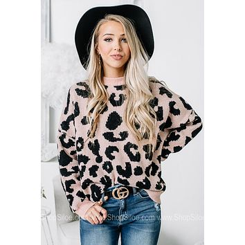 So Fetch Pink Oversized Cheetah Print Sweater