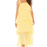 MDS Stripes Tiered Cami Dress in Yellow Eyelet | REVOLVE
