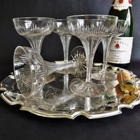 Champagne Coupes Saucers, 5 Crystal Prosecco Glasses, Wedding Toast, Vintage Stemware, Cocktail Glassware, Sparkling Wine Glass Cava