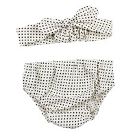 Baby Newborn Bloomers | White and Black Small Dot Bloomers and Knotted Headband