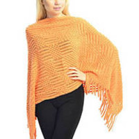 KNITTED PONCHO - YELLOW