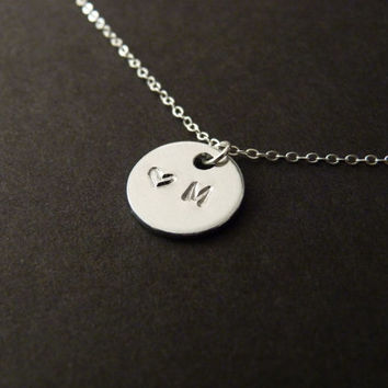 Tiny heart and Initial Disc Necklace, Custom Necklace, Silver Disc Necklace, Coin Necklace, Sterling Silver