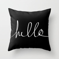 Hello Throw Pillow by Leah Flores Designs