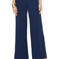 Lauren Ralph Lauren Wide Leg Sueded Crepe Pants
