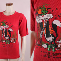 Vintage 80s 1988 - Cartoon Sylvester Cat Hunter - Bad Day Hunting / Better Than Good Day at Work - Funny Novelty Red Long John Tee T Shirt
