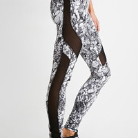 Mesh-Paneled Marble Leggings