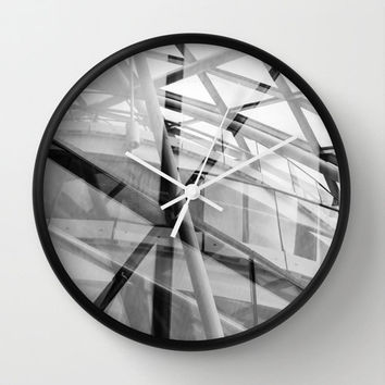 Modern Wall Clock with Original Black and White Modern Architectural Photography Print