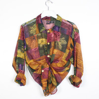 Vintage 1990s SHEER Floral Patchwork Leaf Print Blouse Button Down Collared Boyfriend Shirt 90s Soft Grunge Oversized Fall Colors Top L XL