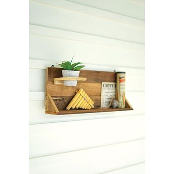 Set Of 2 Recycled Wood Wall Shelves With Clay Pot