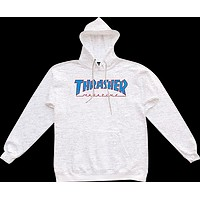 Thrasher Outlined Hoody Sweater Large ash Grey Blue Red Skateboard
