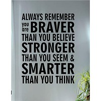 Always Remember Inspirational Quote Decal Sticker Wall Vinyl Decor Art