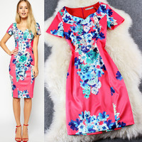 Casual Floral Print Red Zipper Back Bodycon Midi Dress