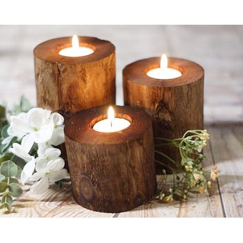 Log Candle Holders, Set of 3