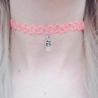 RIP Tombstone Halloween Grave Tomb Cemetery Pastel Pink Orange Tattoo Choker Pendant Silver Necklace Jewellery Jewelry