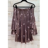 Off The Shoulder Smocked Dress- Mocha