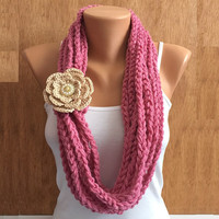 Rose pink hand crochet chain Infinity scarf with flower brooch pin