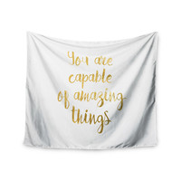 "NL Designs ""Amazing Things"" Gold White Wall Tapestry"