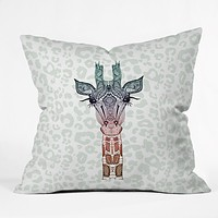 Monika Strigel Giraffe Meets Leopard Throw Pillow