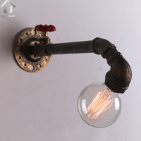 Copper Rustic Metal Water Pipe Wall Light with 1 Light