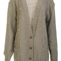 Womens Boyfriend Knitted Cardigan in Khaki