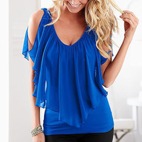 Sleeveless Irregular Chiffon Blouses Off The Shoulder Shirts Tops