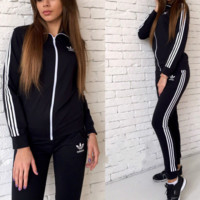 ADIDAS Hot style printing long-sleeved sweater suit Black