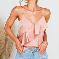 Sexy V Neck Satin Women Crop Tops Solid Spaghetti Ruffle Tanks Camis Female Casual Basic Tops Plus