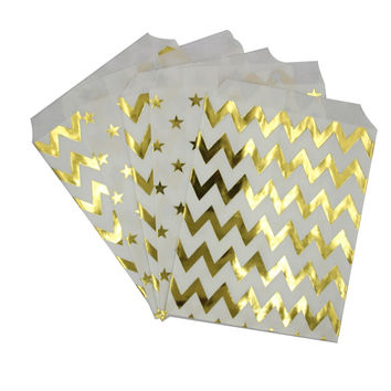 Metallic Gold Paper Bags includes 50 pieces // Bridal Shower // Wedding Favors // NYE // Baby Shower