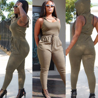 Army Green Sleeveless Hooded Jumpsuit