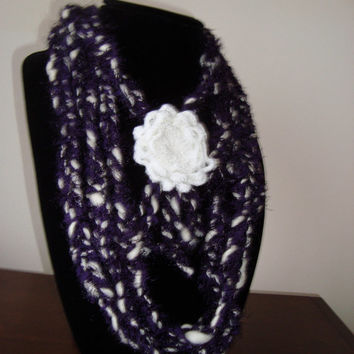 "Dark Purple and White ""Sandra"" Fiber Art Scarflette - Handmade Soft Necklace - Statement Scarf - Fine Art Necklace - Multiple Fiber Art"