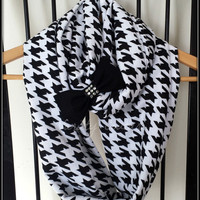 Houndstooth infinity scarf - womens scarves - infinity scarf - bow scarf - knit scarf - fashion scarves - christmas gift ideas