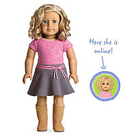 American Girl® Dolls: Light skin with freckles, short curly blond hair, blue eyes