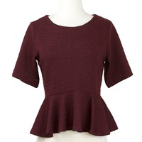 Delia Lace Top in Burgundy