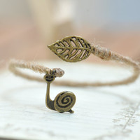 Retro Bronze snail  bracelet with a leaf  by fantasticgift on Etsy