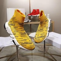 Balenciaga Speed Trainers Yellow With Black Logo Print Sneakers - Best Deal Online
