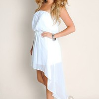 Sexy All White Miami Sizzle Flowy Sheer Empire Waist Tube Top High-Low Dress