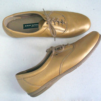 80s gold sneakers - METALLIC flats shoes - front lace shoes - 7.5