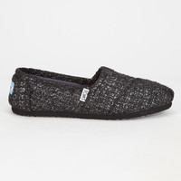 Toms Black Glitter Wool Womens Classic Slip-Ons Black  In Sizes