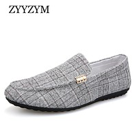 ZYYZYM Men Casual Shoes Spring Summer Men Loafers New Slip On Light Canvas Youth Men Shoes Breathable Fashion Flat Footwear