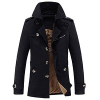 Brand Trench Coat Men Winter Casual Thick velvet Jacket Mens Overcoat Cotton Parka Windbreaker Jackets abrigo hombre Long Coat