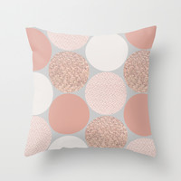 Rose Gold Dots Throw Pillow by Georgiana Paraschiv