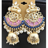 XXL size bright yellow gold finish designer jhumka earring