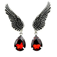 Wings w/ Red Stone Teardrop Earrings Gothic Design Cosplay