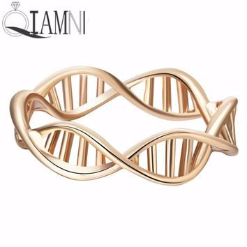 QIAMNI Women Fashion DNA Shape Ring For Women Vintage Science Chemistry Ring Molecule Best Friend Gift