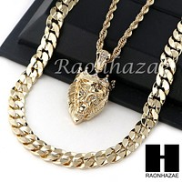 "MEN KING LION ROPE CHAIN DIAMOND CUT 30"" CUBAN LINK CHAIN NECKLACE S011"